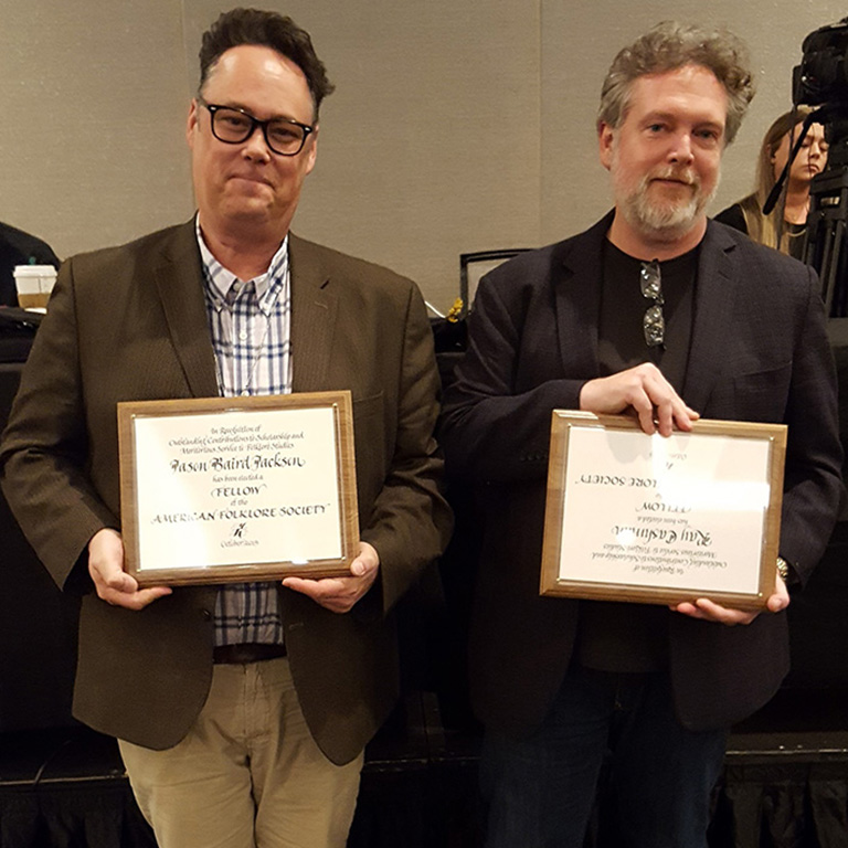 Drs. Ray Cashman and Jason Jackson were inducted to the American Folklore Society Fellows at the AFS annual meeting in Baltimore, MD, Oct. 16-19, 2019.