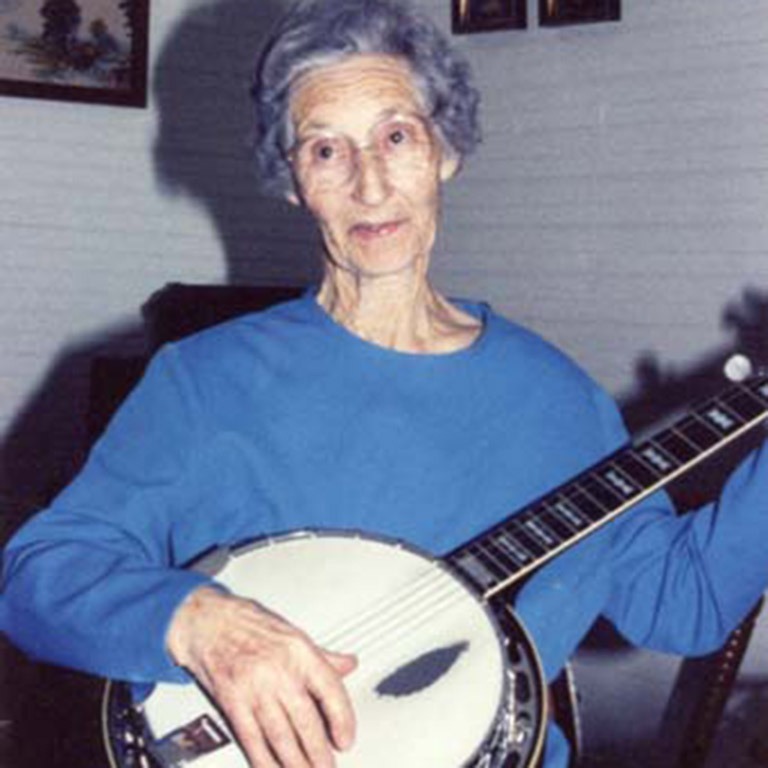 Woman playing a string instrument.